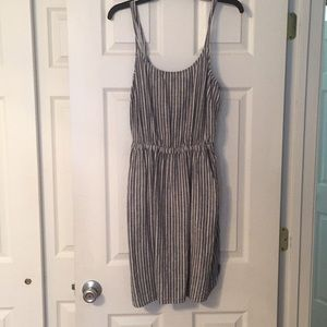 Striped Chambray Spaghetti Strap Dress